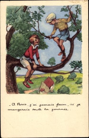 Künstler Ak Poulbot, Francisque, Zwei Jungs auf einem Baum