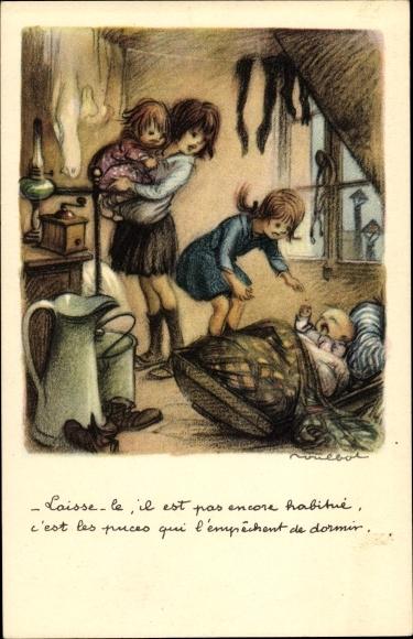 Künstler Ak Poulbot, Francisque, Kinder, schreiendes Baby, Kaffeemühle