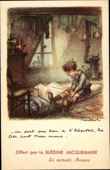 Künstler Ak Poulbot, Francisque, Zwei Kinder, Matratze, Ofen