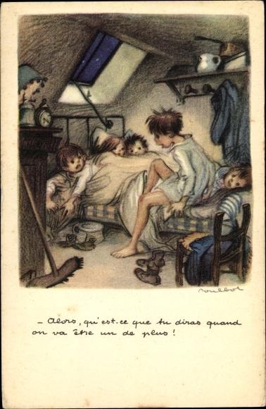 Künstler Ak Poulbot, Francisque, Viele Kinder in einem Bett
