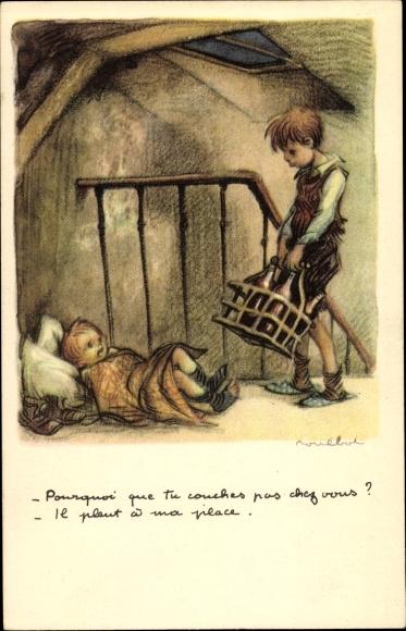 Künstler Ak Poulbot, Francisque, Junge mit Flaschen, Kinder