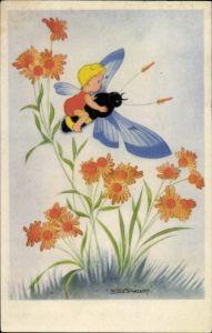 Künstler Ak Schermele, Willy, Kind fliegt auf einer Hummel, Blumen
