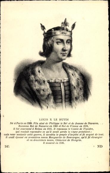 Künstler Ak Louis X Le Hutin, König von Frankreich, Portrait