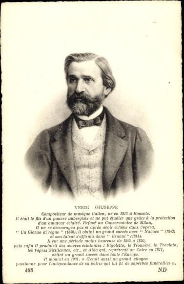 Künstler Ak Ital. Komponist Giuseppe Fortunino Francesco Verdi, Portrait