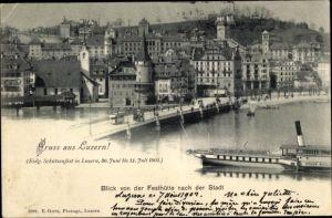 Ak Luzern Stadt Schweiz, Eidg. Schützenfest 1901, Festhütte, Salondampfer