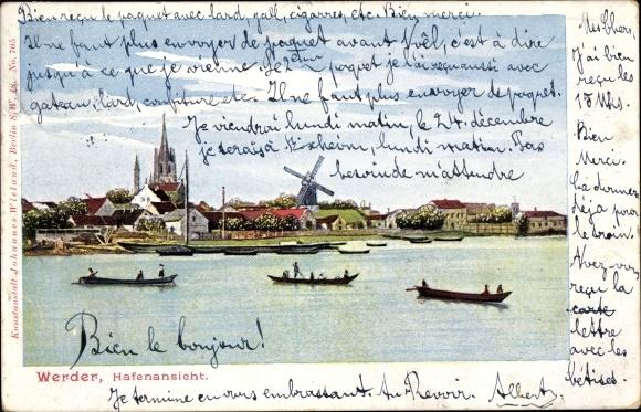 Ak Werder an der Havel, Hafenansicht, Windmühle