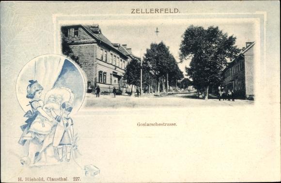 Passepartout Ak Clausthal Zellerfeld im Oberharz, Goslarsche Straße, Puppen