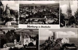 Ak Warburg Nordrhein Westfalen, Eisenhoit Brunnen, Luftaufnahme vom Ort, Burg Calenberg u. Desenberg