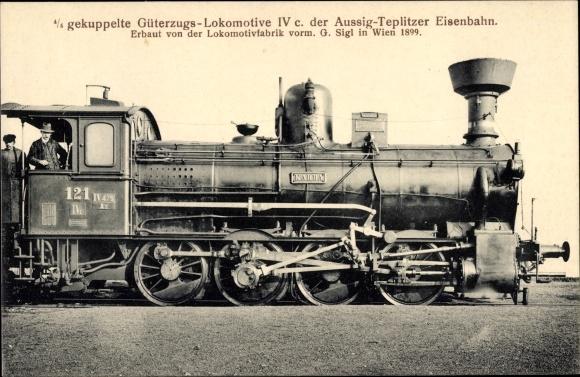 Ak Tschechoslowakische Eisenbahn, Dampflok, 4/4 gek Güterzug Lok IV c, 121