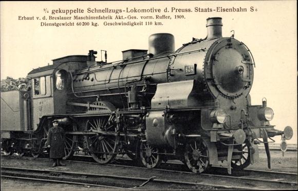 Ak Deutsche Eisenbahn, Dampflokomotive, 2/4 gek Schnellzug Lok, S6, 624