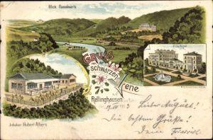 Litho Rellinghausen Essen, Gasthaus Schwarze Lene, Villa Hügel