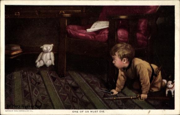 Künstler Ak Sigsbee, Mary, One of us must die, Junge, Spielzeuggewehr, Teddybär