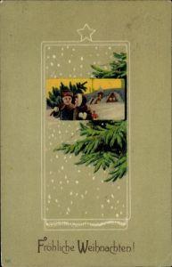 Passepartout Litho Glückwunsch Weihnachten, Mann mit Tannenbaum, Frau, Schneefall