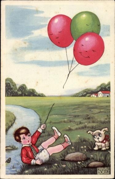 Künstler Ak Boriss, Margret, Junge mit Luftballons, Hund, Sturz, Amag 0337