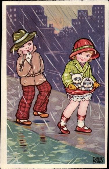 Künstler Ak Boriss, Margret, Mädchen mit Hunden, Junge, Regen, Amag 0333