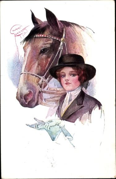 Künstler Ak Barber, Court, Frau in Reitkleidung mit Pferd