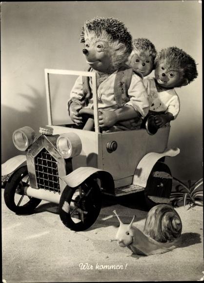 Ak Mecki der Igel mit Kindern im Auto, Schnecke, Wir kommen