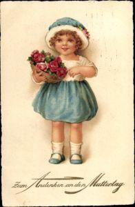 Ak Muttertag, Mädchen mit Blumenkorb
