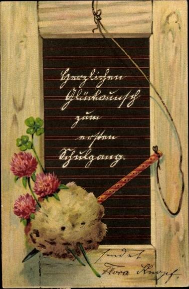 Ak Glückwunsch Einschulung, Tafel, Kleeblätter, Schwamm