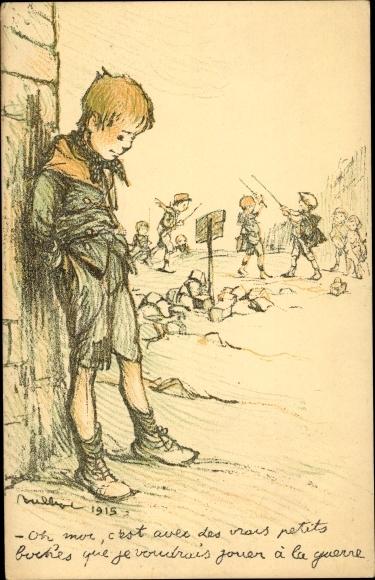 Künstler Ak Poulbot, Francisque, Kämpfende Kinder, Junge an einer Mauer