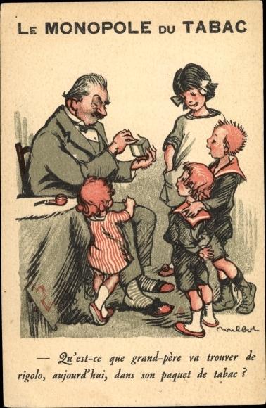 Künstler Ak Poulbot, Francisque, Le Monopole du Tabac, Kinder, Mann