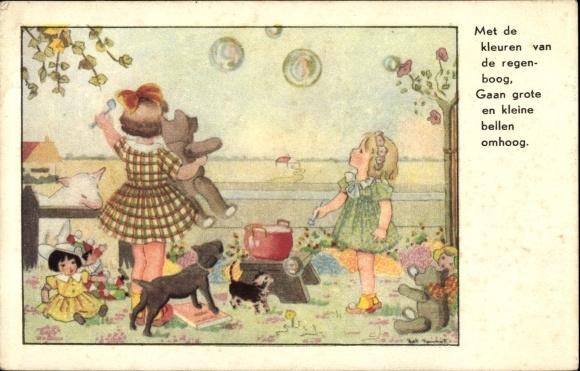 Künstler Ak Meet de kleuren, Mädchen, Seifenblasen, Teddybär, Puppen, Hund