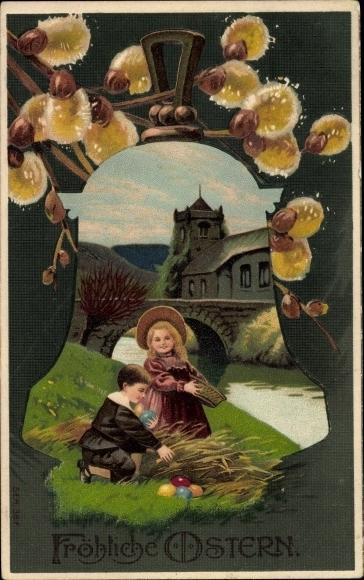 Präge Ak Glückwunsch Ostern, Kinder sammeln Ostereier, Weidenkätzchen