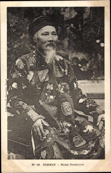 Ak Hanoi Tonkin Vietnam, Riche Tonkinois, Portrait