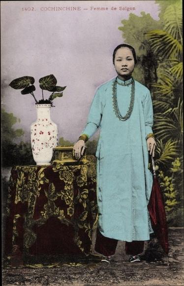 Ak Saigon Cochinchine Vietnam, Femme de Saigon, Portrait