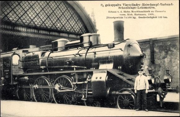 Ak Deutsche Eisenbahn, Dampflokomotive, 3/5 gek. 4 Zyl. Heißdampg Verbund Schnellzug Lok,12