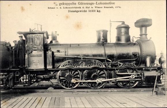Ak Österreichische Eisenbahn, Dampflok, 3/3 gek. Güterzug Lok, 975