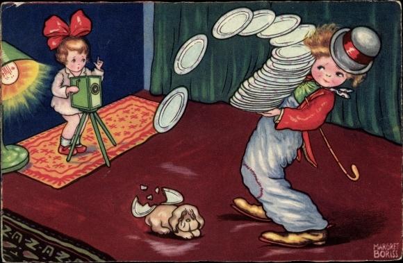 Künstler Ak Boriss, Margret, Fotografin, Clown balanciert Teller, Hund, Amag 0324