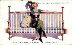Künstler Ak Frau in grünem Kleid auf einer Bank wartet auf einen Mann