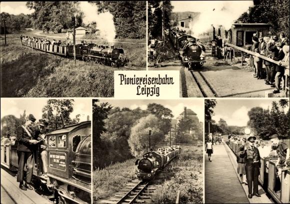 Ak Pioniereisenbahn Leipzig, Volkspark Auensee, Dampflokomotive, Bahnübergang, Schaffner
