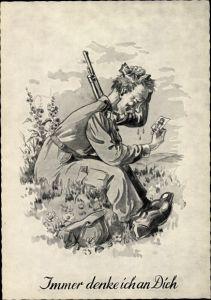 Künstler Ak Immer denke ich an Dich, Soldat mit Foto seiner Liebsten