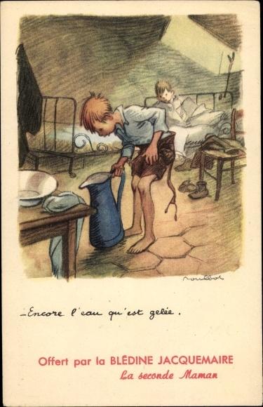 Künstler Ak Poulbot, Francisque, Encore l'eau qu'est gelée