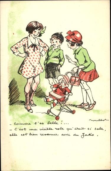 Künstler Ak Poulbot, Francisque, Mädchen mit Puppenwagen, Puppe, Kinder