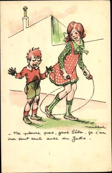 Künstler Ak Poulbot, Francisque, Mädchen mit Springseil, dreckiger Junge