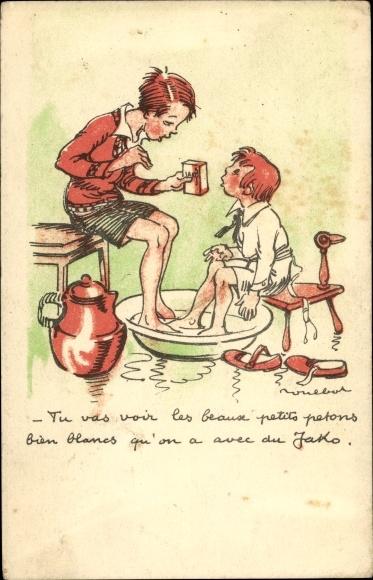 Künstler Ak Poulbot, Francisque, Kinder waschen Füße in Schüssel