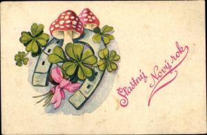 Ak Glückwunsch Neujahr, Hufeisen, Kleeblätter, Glückspilze