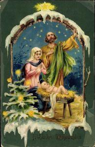 Passepartout Litho Frohe Weihnachten, Geburt Jesu, Krippe, Maria, Josef, Tannenbaum, Weihnachtsstern