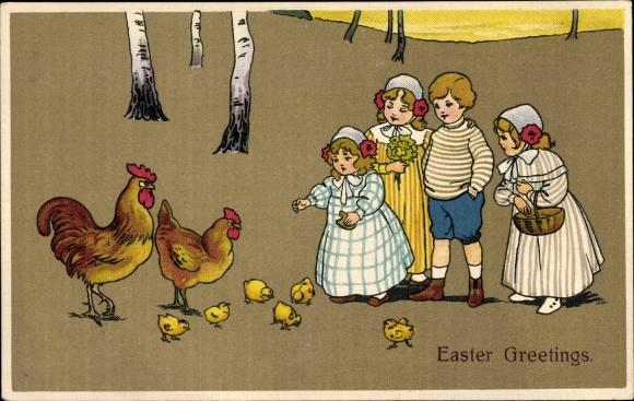 Ak Glückwunsch Ostern, Hahn und Henne mit Küken, Kinder