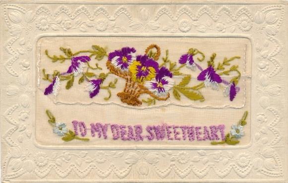 Seidenstick Ak To my dear sweetheart, Stiefmütterchen