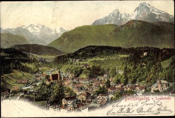 Ak Berchtesgarden, Panorama vom Lockstein aus
