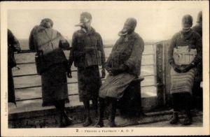 Ak Afrique Occidentale française, Femmes a Plateaux, Lippenteller