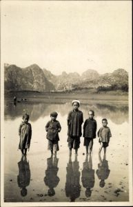 Foto Ak Langson Tonkin Vietnam, Groupe d'enfants