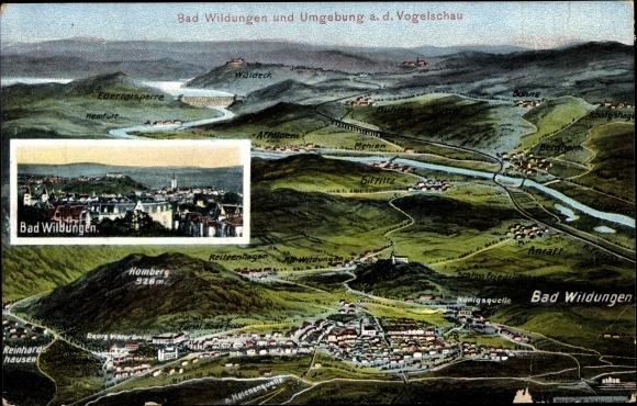 Landkarten Ak Felle, Eugen, Bad Wildungen in Nordhessen, Homberg, Reinhardshausen, Mehlen