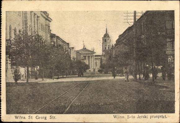 Ak Vilnius Wilna Litauen, St. Georg Straße, S-to Jerski prospekt