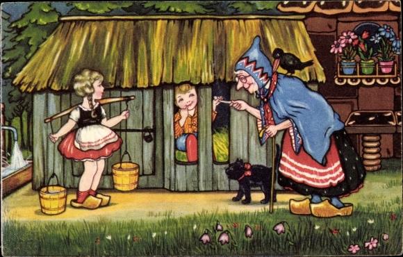 Künstler Ak Boriss, Margret, Märchen, Hänsel und Gretel, Gebrüder Grimm, Hexe, Amag 0416