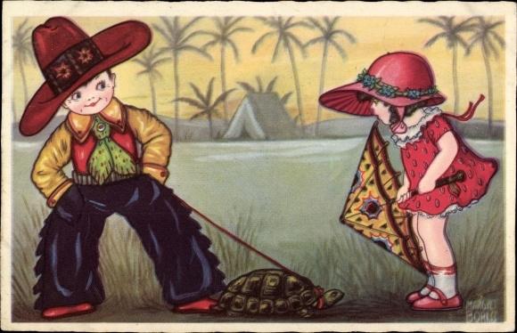 Künstler Ak Boriss, Margret, Cowboy, Schildkröte, Mädchen, Zelt, Amag 0339